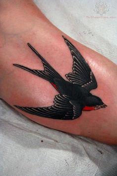 Dark Black Swallow Tattoo