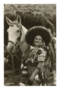 Woman with Horse, Mexican Charra Premium Poster