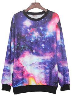 Wear this under a blazer, Galaxy Print Ribbed Sweateshirt