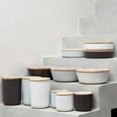 Vincent Van Duysen's ceramic bowls with wooden lids are hands-down one of my favorite table-top pieces. As much as I covet a stack of them, they come at a price. A good stand-in? Entite jars from the French online store Redoute.