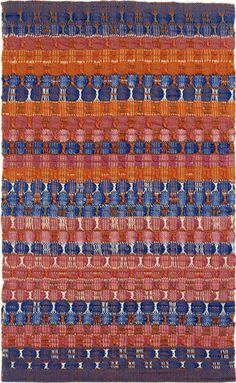 Anni Albers, Red and Blue Layers, 1954 /a German-American textile artist and printmaker. She is perhaps the best known textile artist of the century. She produced numerous designs in ink washes for her textiles, and occasionally experimented with jewelry. Anni Albers, Josef Albers, Bauhaus Style, Bauhaus Design, Textile Patterns, Textile Design, Fabric Design, Bauhaus Textiles, Guggenheim Bilbao