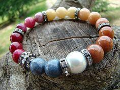 Bohemian Style Gemstone Beaded Stretch Bracelet Gemstone