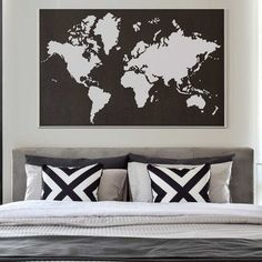 World map wall art stencil from cutting edge stencils looks perfect world map wall art stencil from cutting edge stencils looks perfect stenciled on an accent wall for world travelers and geography lovers gumiabroncs Choice Image