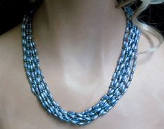 VINTAGE 8 STRAND Celluloid Faux Silver Rice Pearls Torsade Necklace #UnsignedBeauty #8StrandFauxRicePearlBeadedTorsdadeNecklace