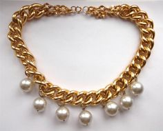 VINTAGE 60 S GOLD TONE CHUNKY CHAIN PEARL BEAD BEADED STATEMENT NECKLACE COLLAR