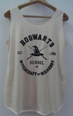 HogwartsTank Top Pop Punk Rock Tank Top Vest Women T shirt Harry Potter T-Shirt SizeS,M,L on Etsy, $15.00