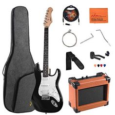 ADM Electric Guitar Beginner Kit 39 Inch Full Size Guitar Package with Amplifier, Bag, Capo, Strap, String, Tuner, Cable and Picks (Black) Black Electric Guitar, Electric Guitars, Guitar Hanger, Guitar Cable, Electric House, Guitar Shop, Guitar For Beginners, Acoustic Guitar, Kit