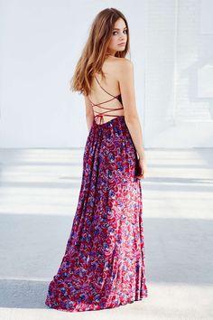 Ecote Strappy Back Safari Maxi Dress