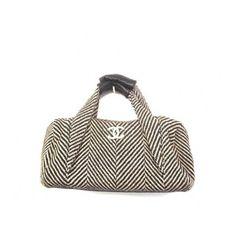 Chanel Black and White Tweed Bowler Bag