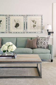 Duck egg sofa with b&w cushions