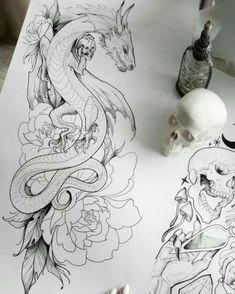 Tattoo dragon drawing ink 68 ideas for 2019 drawing tattoo tattooideas smalltattoos # Tatoo Art, Body Art Tattoos, New Tattoos, Tatoos, Tattoo Ink, Tattoo Sketches, Drawing Sketches, Art Drawings, Drawings Of Dragons