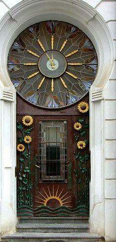 Sunflower Clocks. Stare Mesto Praha. Jugendstil. Secession. Art Nouveau. Old Town. Prague