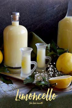 A bottle and a few glasses of limoncello are displayed. for this Crema di Limoncello di Vittoria