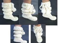 Crochet pattern, slippers,- handmade pattern,  Slouchie Boot Slippers,  from age 1 to adult, ankle high, knee high. $4.99, via Etsy.
