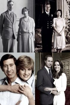 royalmontages: British Royal Family Engagements-Duke of York and Lady Elizabeth Bowes-Lyon, 1923; Lt. Philip Mountbatten and Princess Elizabeth, 1947; Prince of Wales and Lady Diana Spencer, 1981; Prince William and Catherine Middleton, 2010.