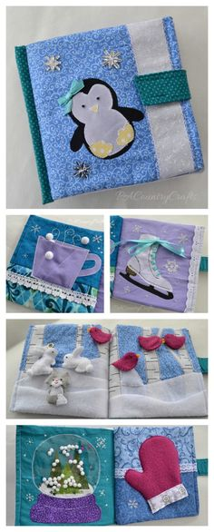 Winter themed quiet book - penguin, cup of cocoa, ice skate, snowy forest, snow globe, and mitten. All in scrappy fabrics and trims in the colors from Frozen