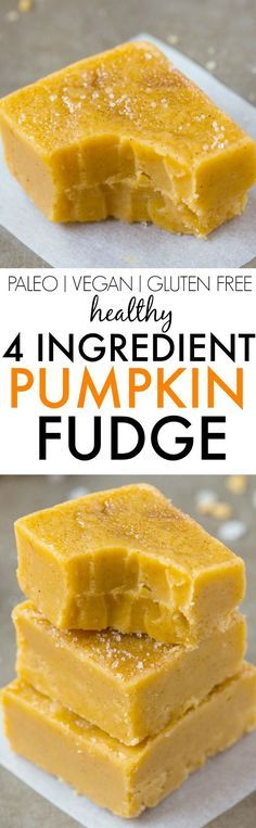 Healthy 4 Ingredient Pumpkin Fudge- Smooth, creamy and ready in minutes, this secretly healthy fudge has a hint of pumpkin and NO condensed milk, butter, refined sugar free and dairy free! Paleo Dessert, Healthy Desserts, Dessert Recipes, Healthy Pumpkin Recipes, Greek Desserts, Healthy Fudge, Healthy Sweets, Pumpkin Fudge, Vegan Pumpkin