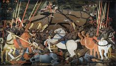 Paolo Uccello (Italian [Early Renaissance] The Battle of San Romano, c. Egg tempera with walnut oil and linseed oil on poplar. x 320 cm. Fra Angelico, Medieval Paintings, Renaissance Paintings, Italian Renaissance, Renaissance Art, Henri Matisse, Galerie D'art Moderne, Galerie Des Offices, Giorgio Vasari