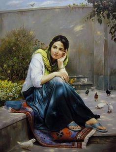 Mitra Shadfar This is extra ordinary beautiful art I can't describe Persian Girls, Indian Art Paintings, Iranian Art, Painted Ladies, Jolie Photo, Woman Painting, Beautiful Paintings, Islamic Art, Female Art