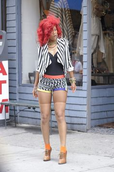 rihanna, red hair, striped blazer, street style, personal style, audrey kitching