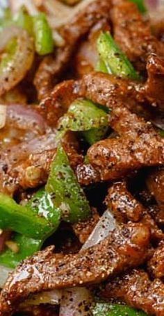 "Chinese Black Pepper Beef- 20 minutes quick Chinese style beef stir fried with black pepper, a very ""Chinese"" style stir-frying recipe using beef, onion, green peppers and ground black pepper."