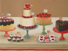 """Art Print: The Sweethearts Fine giclee art print of an original oil painting by Janet Hill Image is 7.5"""" x 10"""" with a white border, paper is 8.5"""" x 11"""" Printed using Epson Ultrachrome archival prints"""
