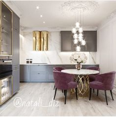 Perfect Dining Suites For Luxury Interior Luxury Homes Interior, Modern Interior Design, Interior Design Kitchen, Interior Sketch, Simple Interior, Design Bathroom, Purple Kitchen Decor, Kitchen Colors, Dining Suites