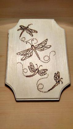 Wood burned, dragonflies plaque