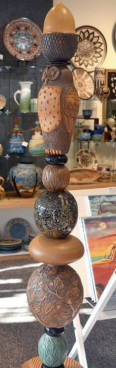 Fabulous Totem | Foxlo Pottery | April 2014 Fish Exhibition | Amphora Gallery | Cambria, CA
