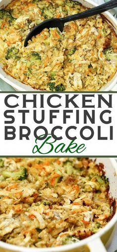 This CHICKEN STUFFING BAKE recipe is a hassle-free delicious 45 minute casserole dish. With chicken, stuffing, broccoli and a few other simple ingredients - it's so comforting and uses up those holiday leftovers. over chicken recipes Chicken Stuffing Bake New Recipes, Yummy Recipes, Baking Recipes, Yummy Food, Recipes Dinner, Crockpot Recipes, Recipies, Dinner Casserole Recipes, Steak Recipes