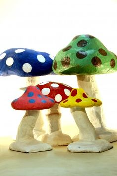 5 x Giant Mushroom/Toadstool Props Set in Bright Colours