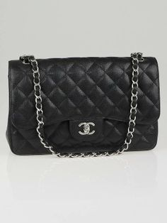 Chanel Black Quilted Caviar Leather Classic Jumbo Flap Bag  $4900