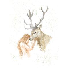Woman and stag Giclee print – Naomi Watkins Art