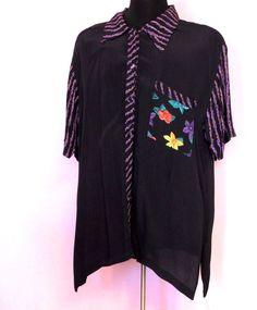 #Women #Top #PlusSize #ButtonDown #Blouse #Black #Purple #Floral #AdrianJordan #Blouse #Fashion #Apparel #Shop #eBay