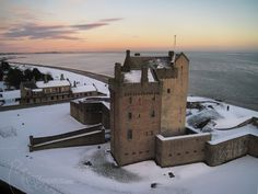People visiting the coast in winter can witness such stunning views as Broughty Ferry Castle (Dundee). Visiting during autumn and winter reduces crowding, which will encourage more people to visit year-round. Castle Ruins, Castle House, Medieval Castle, Scotland Castles, Scottish Castles, Beautiful Castles, Beautiful Places, Shetland, England