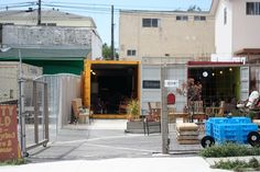"""I repinned this rad little shop, they sell vintage & """"upcycled"""" furniture & home stuff. The best part is they are on a previously unused lot and the whole structure is """"upcycled"""".... Old shipping containers. Rad!"""