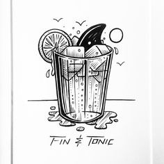 Cheers to Shark Week! Buraka Tattoo, Tattoo Drawings, Art Drawings, Dessin Old School, Drink Bar, Brown Art, Art Graphique, Ink Art, Blackwork