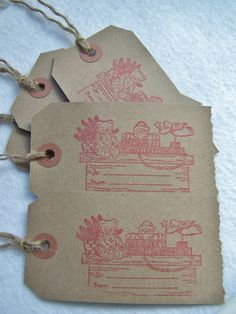 Christmas Tag Red Gift Tag Shipping Label Tag by WitsEndDesign, $4.75