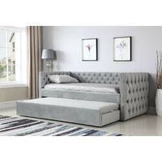 Emerald Home Furniture Paige Upholstered Daybed With Trundle Furniture, Daybed With Trundle, Upholstered Daybed, Emerald Home Furnishings, Home Furniture, Bed Furniture, Bedroom Furniture, Full Daybed, Grey Bedding