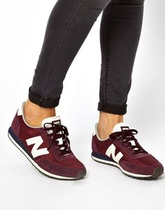 new balance 410 burgundy SUEDE and mesh trainers.