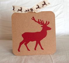 Christmas Cards Set TEN Reindeer Style 55 by CardinalBoutique, $17.50