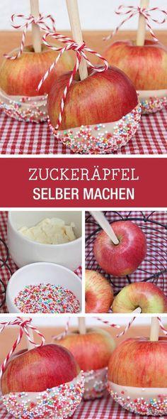 Dekor-Idee für süße Zuckeräpfel, Kindergeburtstag / party food: how to make apples with sweet decor via DaWanda.com