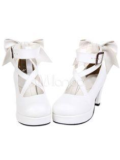 a21dc470660 Sweet Platform Heels Lolita Shoes Ankle Straps Round Toe