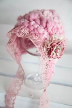 OOAK Pink Hand Knit Baby Hat  Newborn Size by AnnWo on Etsy, £30.00