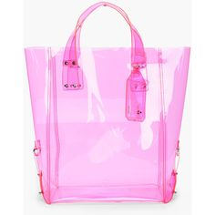 MCQ ALEXANDER MCQUEEN Pink Kingsland Vinyl Shopping Tote (€190) ❤ liked on Polyvore featuring bags, handbags, tote bags, handbag tote, vinyl tote bag, transparent purses, vinyl tote and neon pink handbag