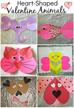 Tons of Valentine's Day Heart- Shaped Animal Crafts For Kids. This will bring you to a website with a lot of fun kids Valentine craft ideas! Valentines Bricolage, Kinder Valentines, Valentines Day Activities, Valentines Day Hearts, Valentines For Kids, Valentine Day Crafts, Homemade Valentines, Valentine Ideas, Holiday Crafts