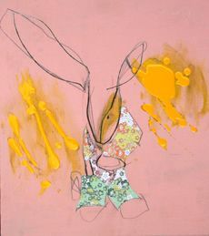 Jack Randell, Chiyogami Rabbit, oil, graphite & chiyogami paper on board, 34 x - love the simplicity and graphic elements. Graphite, Tinkerbell, Disney Characters, Fictional Characters, Rabbit, Oil, Disney Princess, Paper, Board