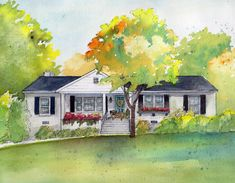 Photo to Watercolor House Painting, Home portrait, custom painted by hand from your pictures Photo To Watercolor, Watercolor Beginner, Watercolor Sketch, Watercolor Flowers, Watercolor Paintings, Acrylic Paintings, Watercolors, Watercolor Architecture, Watercolor Landscape