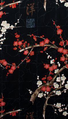 Fabric – sakura, cherry blossom, japan, black – a unique product by haendisch on DaWanda by eloexko Japanese Aesthetic, Aesthetic Art, Aesthetic Anime, Korean Aesthetic, Iphone Background Wallpaper, Pastel Wallpaper, Japanese Wallpaper Iphone, Arte Final Fantasy, Golden Garden