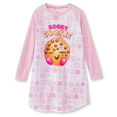 Shopkins Girls' Kooky Cookie Long Sleeve Nightgown Pink